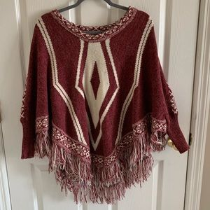 Floral Fairy Poncho With Maroon & White & Fringe